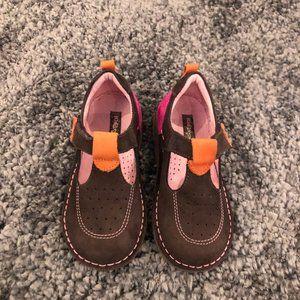 Girls Kid Express Dark Brown Suede Velcro Shoes